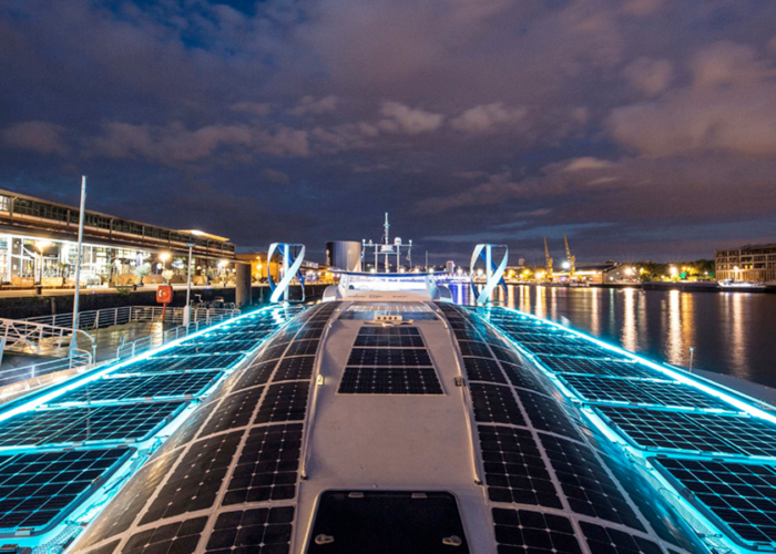 The Energy Observer, the boat fuelled by air, docks in Italy