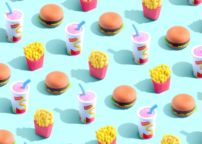 Illustrations and design in the battle between junk food and wellness